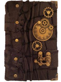 Handmade steampunk vintage antique victorian clock gears time travel crocodile pattern luxury black leather journal notebook sketchbook