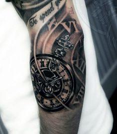 tatuaże męskie 3d zegar