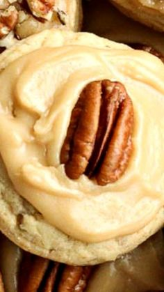 Brown Sugar Pecan Cookies ~ Soft, moist pecan cookies topped with an easy brown sugar frosting.