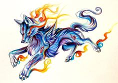 Ice+Fire-+Charity+Adoptable+by+Lucky978.deviantart.com+on+@deviantART.    #watercolor #wolf #wolves
