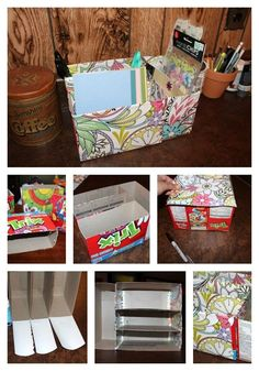 31 Things You Can Make Out Of Cereal Boxes All you have to do is cute up boxes (slanted tops are helpful for storing papers) and cover with decorative paper, as done here. Cereal Box Organizer, Cardboard Organizer, Cardboard Box Crafts, Paper Crafts, Cereal Box Crafts, Diy Storage Boxes, Craft Storage, Cereal Box Storage, Storage Ideas