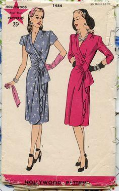 1940s Vintage Hollywood Pattern 1484 Misses Side by GreyDogVintage, $40.00