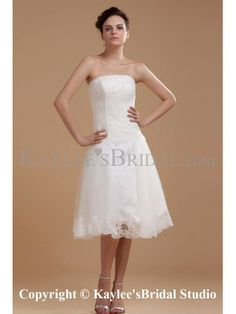 Satin and Organza Strapless Knee-length A-line Wedding Dress