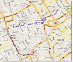 mapa de la ruta a pie por Londres