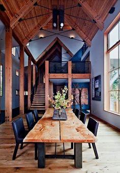 Indigo walls and natural wood