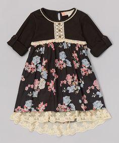 Look at this #zulilyfind! Free Planet Black Dahlia Floral Field Dress - Girls by Free Planet #zulilyfinds