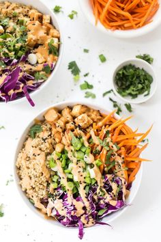 Asian Quinoa Bowls with Peanut Baked Tofu — use up the veggies in your fridge to whip up this TASTY bowl meal! Asian Quinoa Bowls with Peanut Baked Tofu — use up the veggies in your fridge to whip up this TASTY bowl meal! Vegetarian Recipes, Cooking Recipes, Healthy Recipes, Salad Recipes, Meal Recipes, Potato Recipes, Vegetable Recipes, Clean Eating, Gourmet