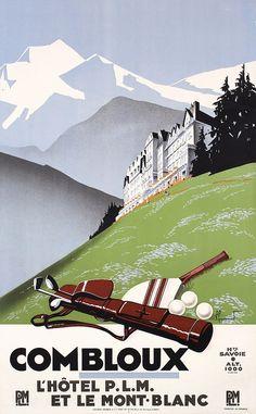 Original 1920s French Golf Sports Travel Poster Comblou