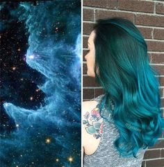 Teal green ombre hair color idea for dark hair girls, pretty Galaxy Hair Color Galaxy Hair Color, Hair Color Dark, Ombre Hair Color, Cool Hair Color, Dark Hair, Hair Colors, Teal Hair, Green Hair, Teal Green