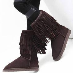 Ladies Chocolate Brown Fur Leather Goth Boho Winter Snow Boots Women SKU-143455