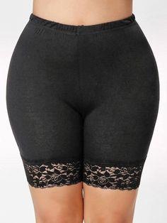 Plus Size Women Mid-Rise Lace Shorts Elastic Casual Sports Pants Black White Security pants Trousers Trunks Plus Size Leggings, Black Leggings, Satin Panty Pics, Bohemian Pants, Lace Trim Shorts, Fashion Tights, Floral Pants, Sport Pants, Sport Casual
