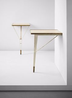Gio Ponti, Antonio Fornaroli and Alberto Rosselli; Lacquered Plywood, Brass and Enameled Metal Consoles, 1955