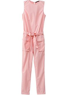 Pink Sleeveless Belt Pockets Slim Jumpsuit 29.00