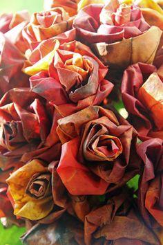 Autumn leaf rose tutorial  in Swedish...365 saker du kan slöjda