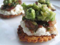 Goat cheese, cilantro salsa, guacamole - Creamy Adobo Chip Nacho Bites