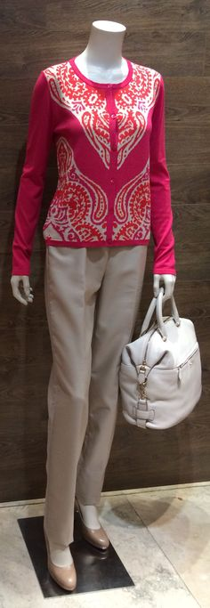 "Weekend collection by MaxMara paisley print silk blend cardigan | MaxMara light beige wool pants | MaxMara beige leather court shoes with chunky heel | MaxMara ""Cachi"" cream deerskin leather handbag with shoulder strap is also available in cream and olive deerskin leather.  Prices on request."