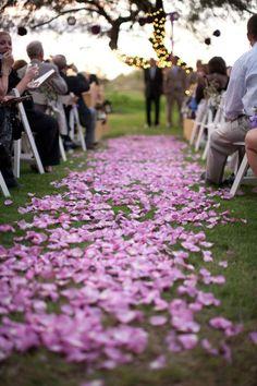 Lilac rose petal aisle