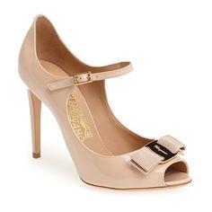 "Salvatore Ferragamo 'Mood' Pump, 2 3/4"" heel (3.445 VEF) ❤ liked on Polyvore featuring shoes, pumps, heels, heels & pumps, peep-toe pumps, peep toe mary jane pumps, patent peep toe pumps and patent leather shoes"