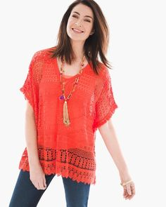"""This pretty poncho is sheer and lightweight, with dainty lace detailing that offers soft femininity.              Length: 24"""".   Cotton.   Machine wash. Imported."""