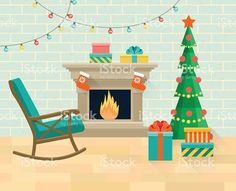 Christmas interior living room. Vector flat illustration vetor e ilustração royalty-free royalty-free
