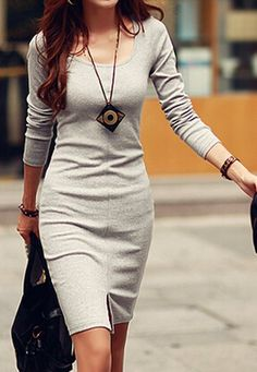 Casual Scoop Neck Solid Color Side Slit Knitted Long Sleeve Women's Dress