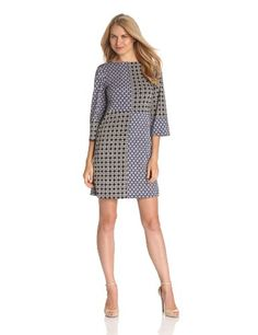 Isaac Mizrahi Women's Boat Neck Print Block Bell Sleeve Knit Dress #workdresses