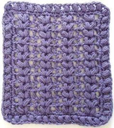 Best Free Crochet » #276 Purple Puffs Crochet Dishcloth – Maggie Weldon Maggies Crochet