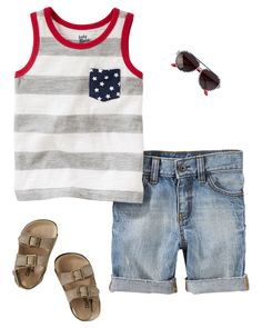 Heading to the beach for Independence Day? Don't forget a patriotic pocket tank with denim shorts rolled and ready for play. Buckle sandals and aviator-style shades are both classic and cool.
