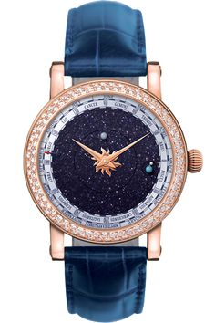 Christian van der Klaauw Venus Rose Gold watch with Diamond Bezel and Blue alligator strap (=)