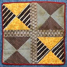 Doll Bed Quilt - Hand Made in the 1800s - 11 X 11 inches.