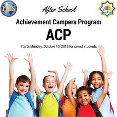 Dear NIA Parents  NIAs after school Achievement Campers Program (ACP) will begin on Monday October 10th for select students only.  If you have received a permission slip from your childs teacher please be sure to sign it and return it as soon as possible.  Thank you  Mrs. Koszela and Mrs. Carrico