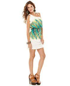 Calvin Klein Dress, Split Flutter Sleeve Spaghetti Strap Printed Blouson - Womens Dresses-Want this so bad!