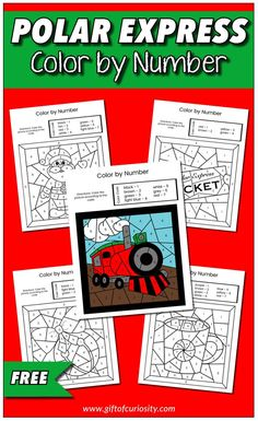 Free printable Polar Express Color by Number printable for Christmas. Features six different images all based on the iconic Polar Express story. #christmas #polarexpress #freeprintables #giftofcuriosity || Gift of Curiosity Creative Activities For Kids, Christmas Activities For Kids, Kids Learning Activities, Free Worksheets For Kids, Free Printable Worksheets, Free Printables, Polar Express Activities, Toddler Preschool, Preschool Ideas