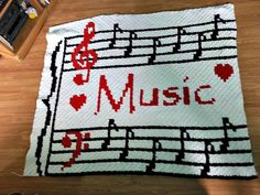 Ravelry: Musical Notes Afghan pattern by Crochet Couch Graph Crochet, C2c Crochet, Crochet Afghans, Crochet Blankets, Crochet Music, Black And White Words, Corner To Corner Crochet, Afghan Crochet Patterns, Crochet Projects