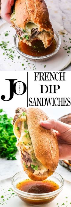 These French Dip Sandwiches can be made in the Slow Cooker or the Instant Pot. Super easy to prepare and your whole family will love this delicious tender beef that will melt in your mouth. Sandwiches, 500 Calories, Instant Pot French Dip, Beef Dip, Beef Steak, Crockpot Recipes, Cooking Recipes, Jo Cooks, Instant Recipes