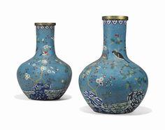 Chinese Cloisonné-enamel vases, 19th century.