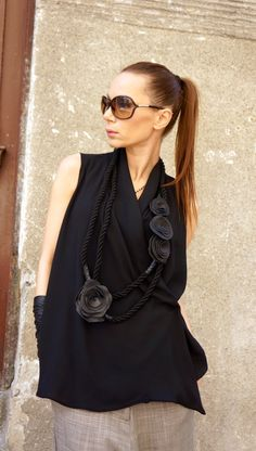 NUOVA collezione corda nera stravagante vera pelle Rose