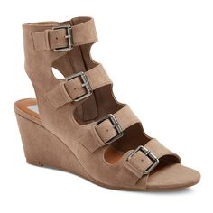 Women's dv Leeann Buckle Wedge Gladiator Sandals - Light Taupe 7