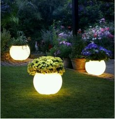 """Rustoleum glow in the dark paint... Illuminating!  Paint flower pots with Rustoleum's """"Glow in the Dark"""" paint. Absorbs sunlight by day & glows at night !!! Great landscape and gardening idea !        #DIY #GlowLights #Paint #Landscaping #Gardening"""