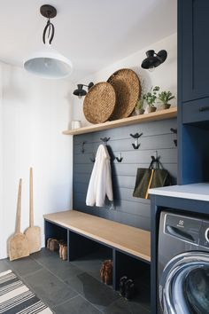 Mudroom Laundry Room, Laundry Room Design, Bench Mudroom, Mudrooms With Laundry, Mud Room In Garage, Mud Room Lockers, Mudroom Cubbies, Blue Laundry Rooms, Laundry Nook