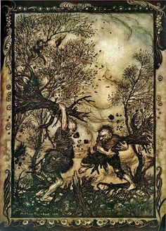 ✽ arthur rackham - 'fighting giants' - from 'the valiant tailor', the fairy tales of the brothers grimm