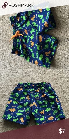 Baby boys Dino dinosaur bathing suit trunks 3-8mo Very good condition - lined - 3-8 months Baby headquarters Swim Swim Trunks