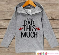 Kids Father's Day Hoodie - Grey Kids Hoodie - I Love My Dad - Toddler Happy Fathers Day Outfit - Novelty Fathers Day Gift Idea - Boy or Girl
