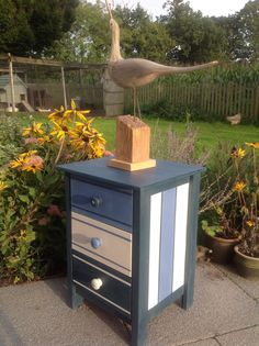 Clean, crisp lines for this seaside inspired cabinet painted in Annie Sloan chalk paint.