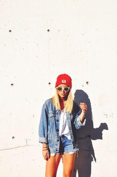 Denim and red beanie