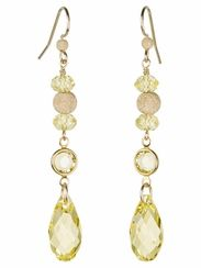 This shimmering Citron Drops Earrings are perfect for casual or dress up occasions and feature Swarovski crystals, Stardust Beads and Gold-filled elements. For free design instructions visit Artbeads.com.  http://www.artbeads.com/make-earrings-wedding-trend-citron-drops.html