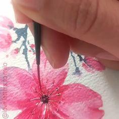 Watercolor Pencil Art, Watercolor Flowers Tutorial, Acrylic Painting Flowers, Watercolour Tutorials, Floral Watercolor, Watercolor Trees, Watercolor Portraits, Painting Tutorials, Watercolor Landscape