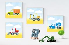 4 construction machines set 4 digital posters by DigiFrog on Etsy