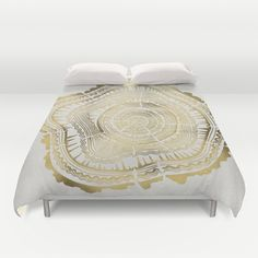 Gold Tree Rings Duvet Cover by Cat Coquillette - $99.00