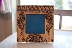 4x4 inch Wood Henna Frame with paisley design